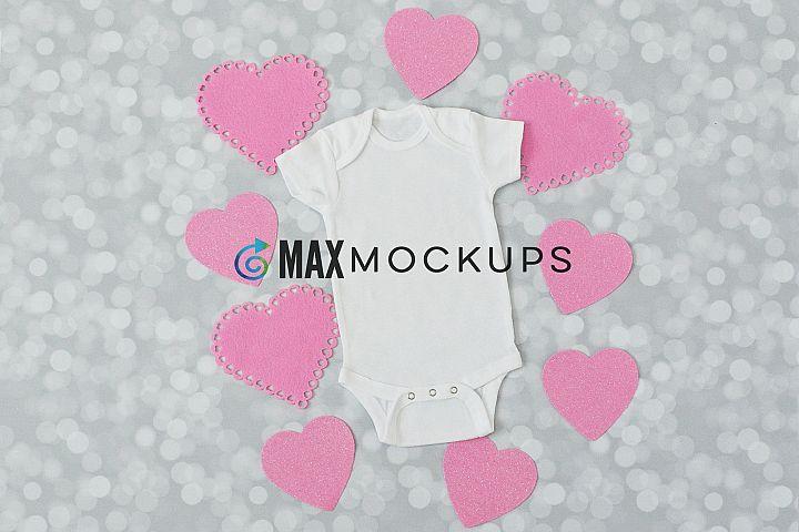Baby bodysuit Mockup, Valentines pink love hearts, flatlay