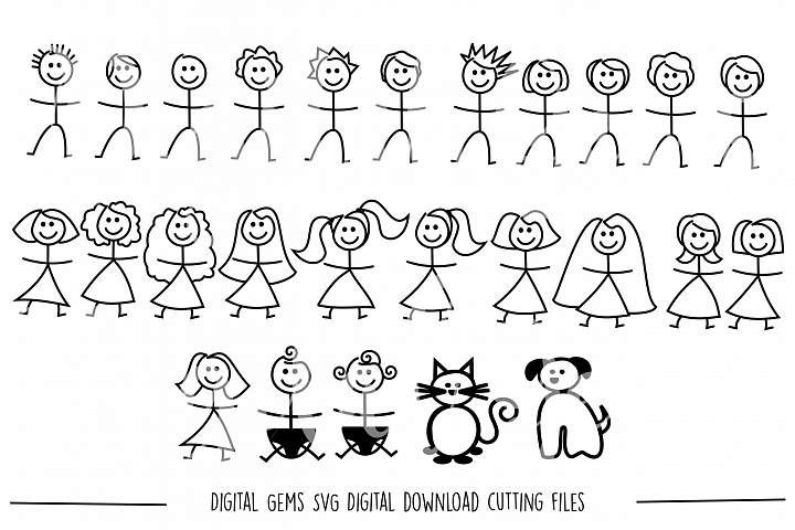 Stick figure people SVG / DXF / EPS / PNG files