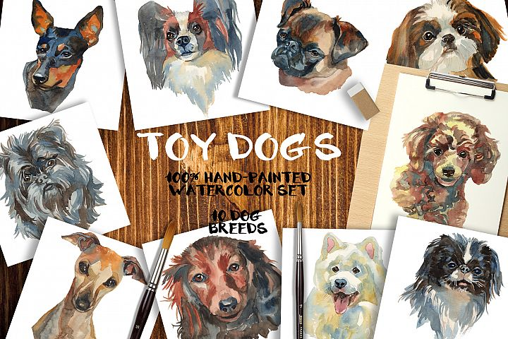 Toy dogs watercolor set