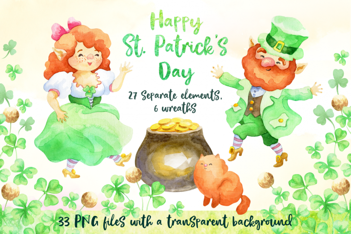 Leprechauns. Patricks Day watercolor set
