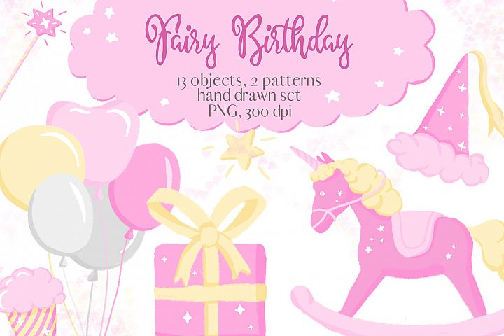 Fairy Birthday Pink Girl Clipart Set Hand Drawn Pastel