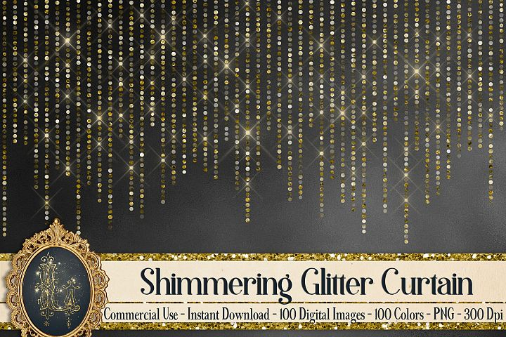 100 Shimmering Glitter Curtain Border Overlay Digital Images