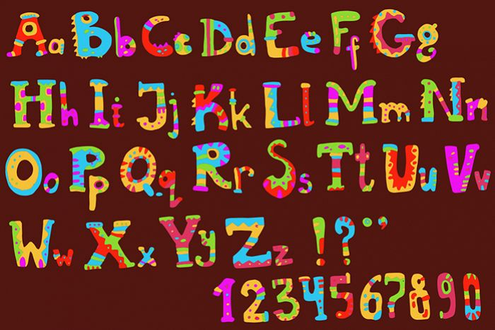 Ethnic brush painted vector alphabet example