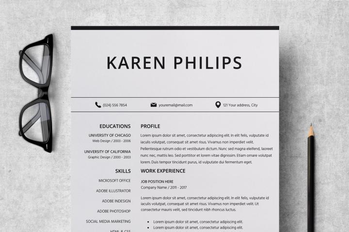 Resume | CV Template Cover Letter - Karen Philips