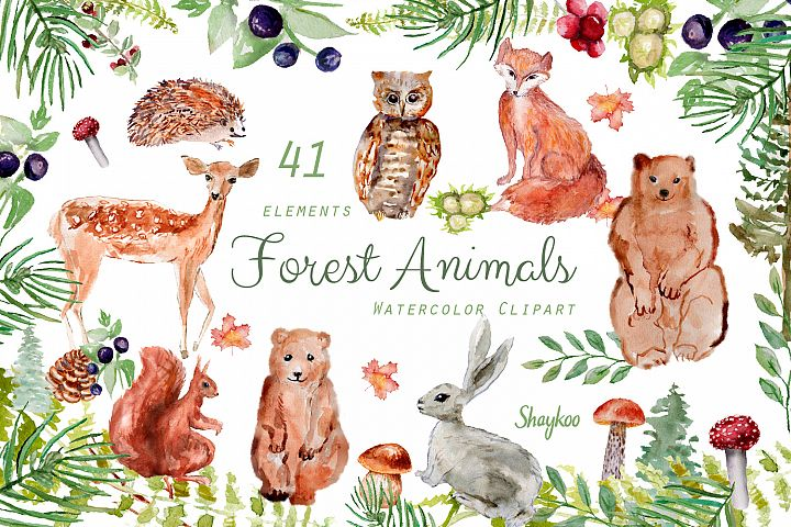 Forest Animals Clipart, Woodland Creatures, Fox, Bear, Owl