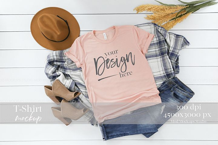 TShirt Mockup PEACH TRIBLEND | 3413 Bella and Canvas Mockup