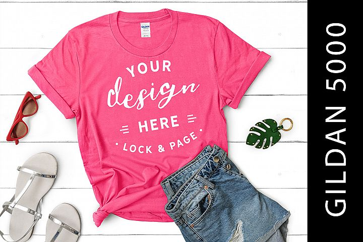Safety Pink Gildan 5000 Womens Knotted T-Shirt Mockup