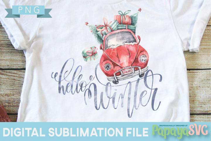 Hello Winter Car - PNG - Print and Cut Christmas Xmas