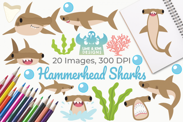 Hammerhead Sharks Clipart, Instant Download Vector Art
