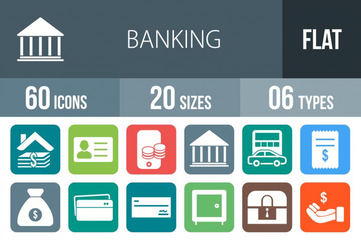 60 Banking Filled Round Corner Icons
