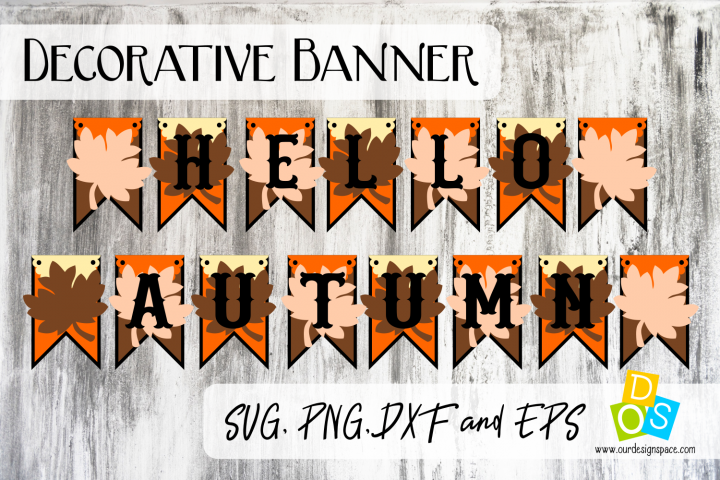 Hello Autumn Party Banner SVG, PNG, DXF and EPS file