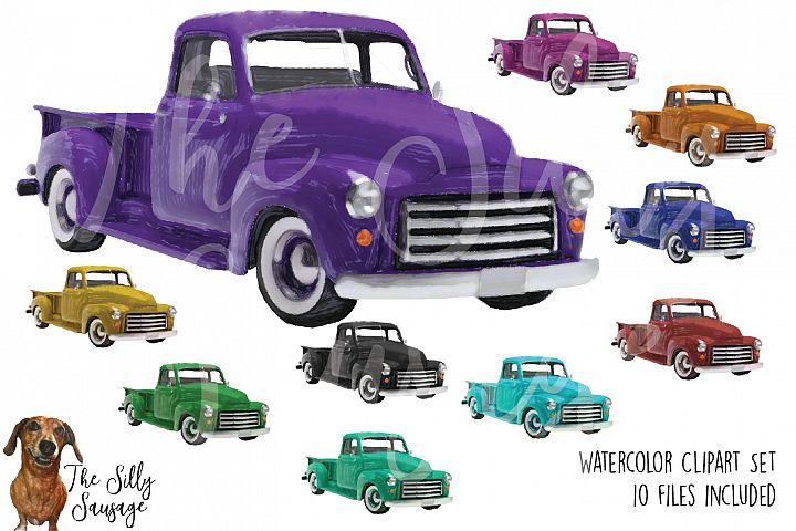 Vintage Trucks Watercolor Clipart