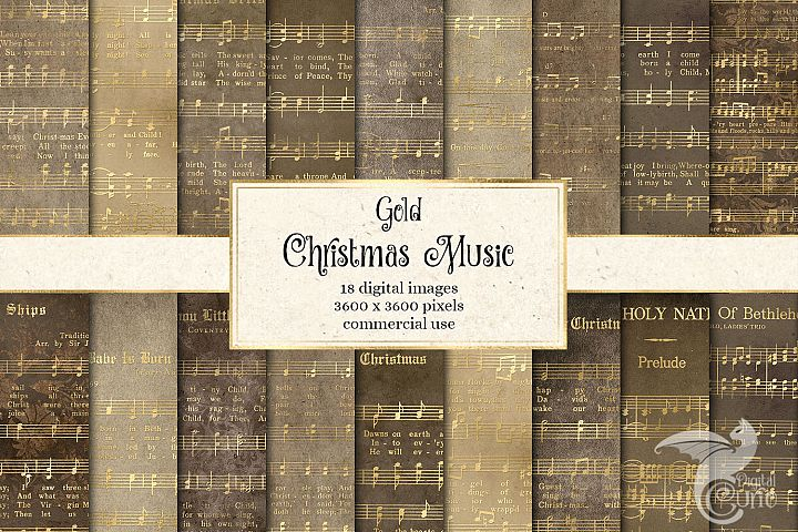 Gold Christmas Music Digital Paper
