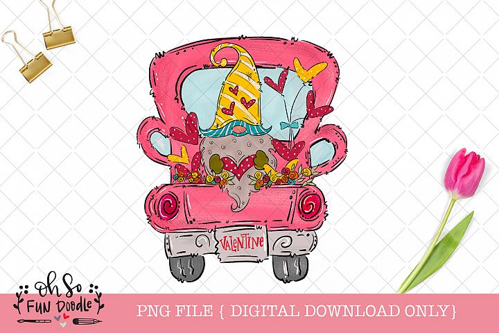 Valentine truck with gnome, PNG file, hand drawn sublimation