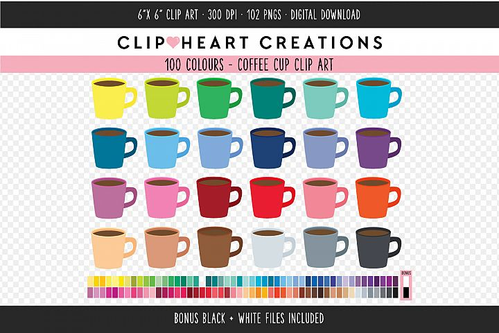 Coffee Cup Clipart - 100 Colours