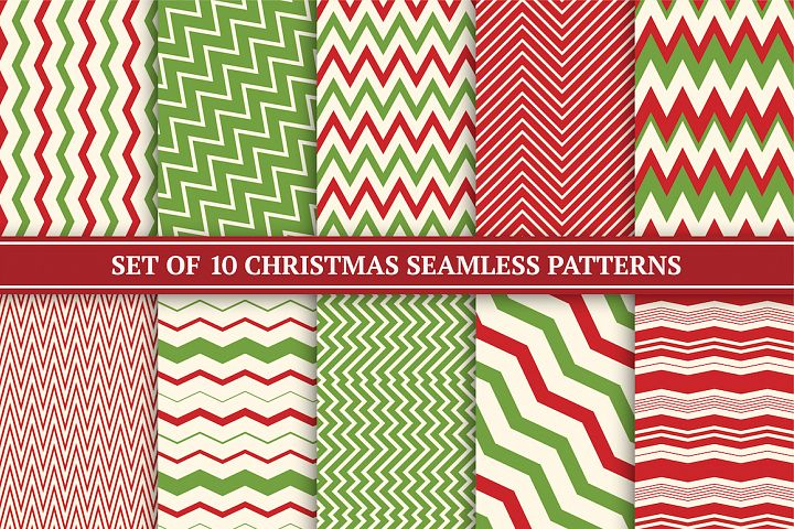 Christmas seamless zigzag patterns