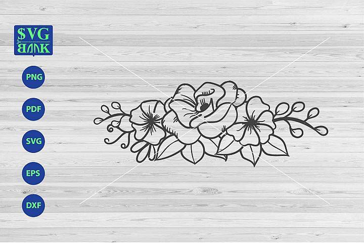 Bouquet Svg, flower corner svg, flower and leaf composition