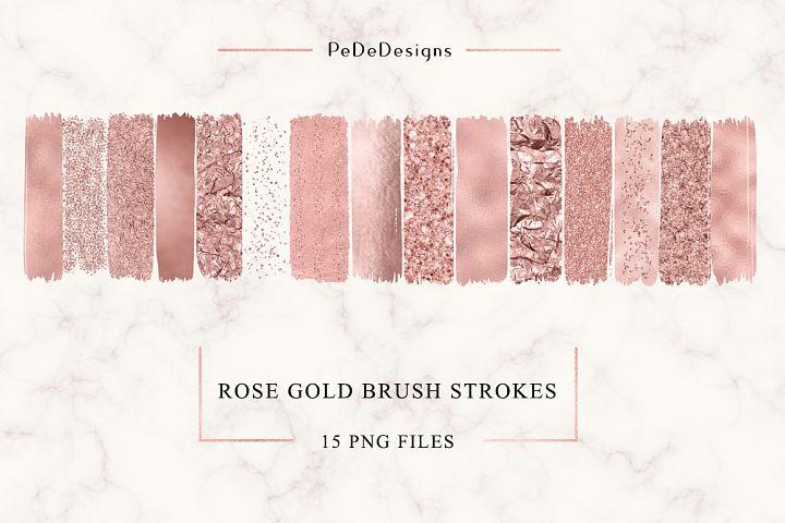 Rose Gold Strokes Clip Art