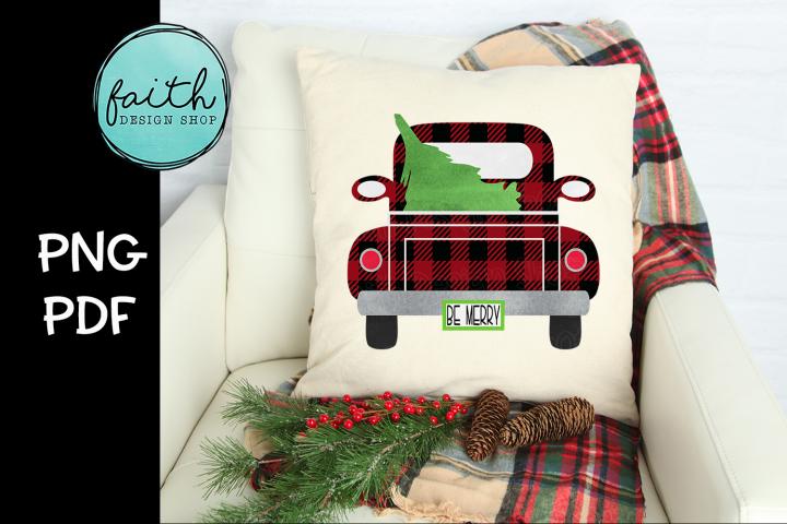 Be Merry Buffalo Plaid Truck