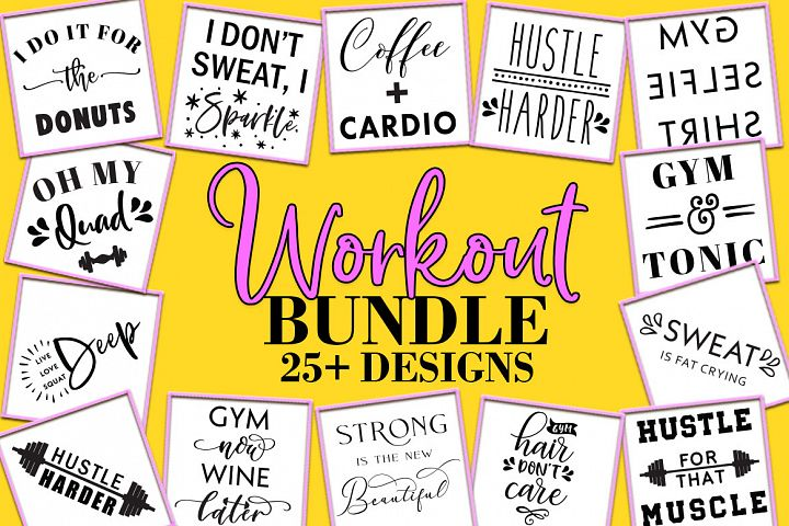 Fitness SVG Bundle, Workout Quotes, Gym Quotes