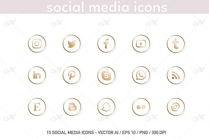 Social Media Icons. White-Gold Set