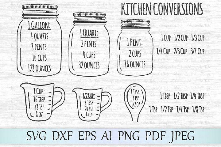 Kitchen conversions svg, Measurement chart svg, Measurement cheat sheet svg, Kitchen svg, Mason jar cut file, Kitchen measurement svg, Cooking