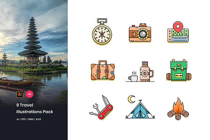 9 Travel Illustrations Pack