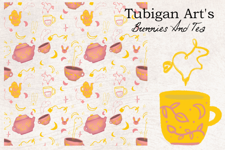 30 Bunnies and Tea Elements perfect for product packaging