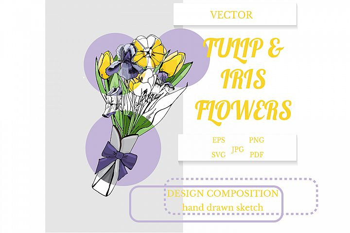 Hand drawn sketch of tulip and iris flowers. Vector.