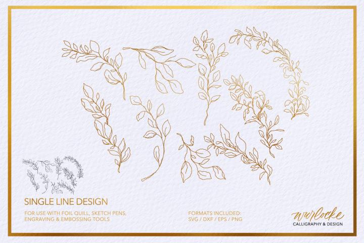 SVG Foil Quill Leaves Single Line Design