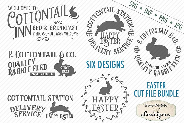 Easter Cottontail Bundle Easter Bunny Rabbit SVG DXF Files