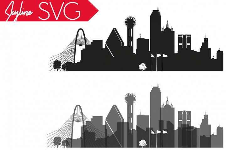 Dallas Vector Skyline, Dallas SVG, silhouette Vector Skyline USA city, SVG, JPG, PNG, DWG, CDR, EPS, AI