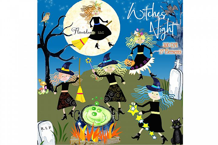 Halloween Witches Watercolor Clipart PNG