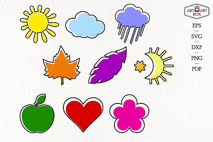 Sun, moon, cloud, rain, leaf, feather, apple, heart and flow