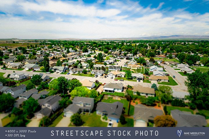 Aerial Street View of Small Town stock photo