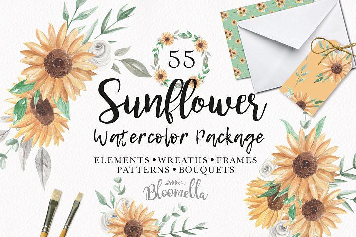 Watercolor Flowers Sunflower Florals Patterns Bouquets Frames Clipart
