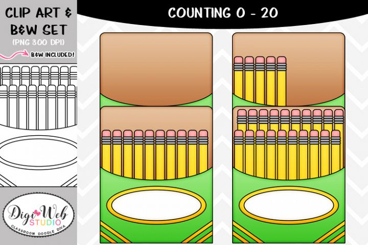 Clip Art / Illustrations - 0-20 Counting A Pack of Pencils
