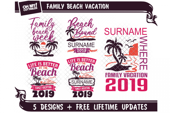 Family Beach Vacation SVG in SVG, DXF, PNG, EPS, JPG