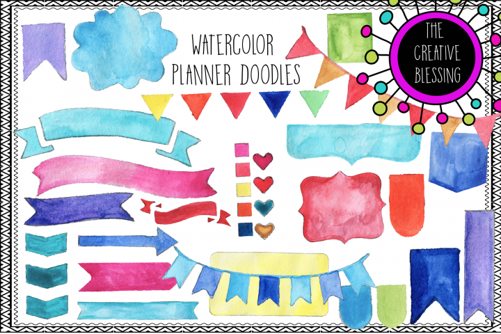 Watercolor Planner Doodles Clipart