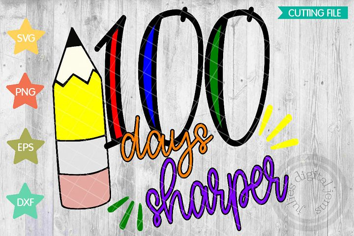 100 Days Sharper svg t-shirt design, 100th Day of School SVG