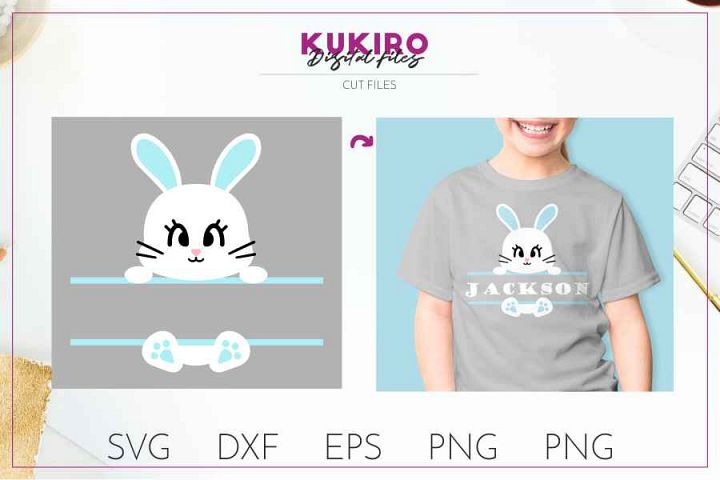 Bunny split frame - Easter cut file SVG DXF EPS PNG JPG