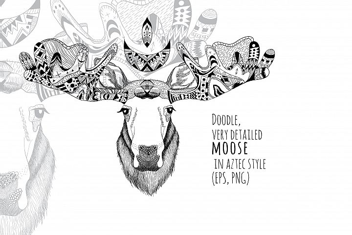 Textured moose in aztec style