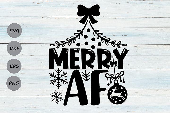 Merry AF Svg, Christmas Svg, Funny Christmas Svg, Holidays.