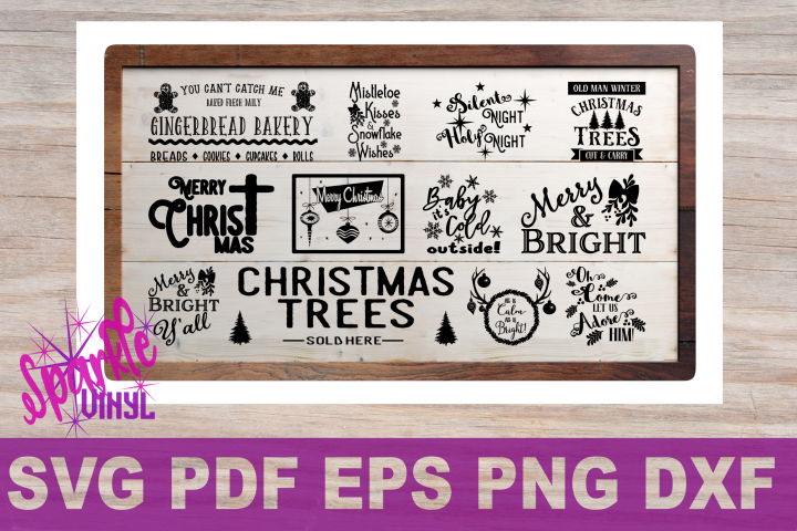 Svg Christmas Sign Stencil Bundle printable svg dxf png pdf esp files for cricut or silhouette Merry Christmas Trees Sold here Mistletoe svg