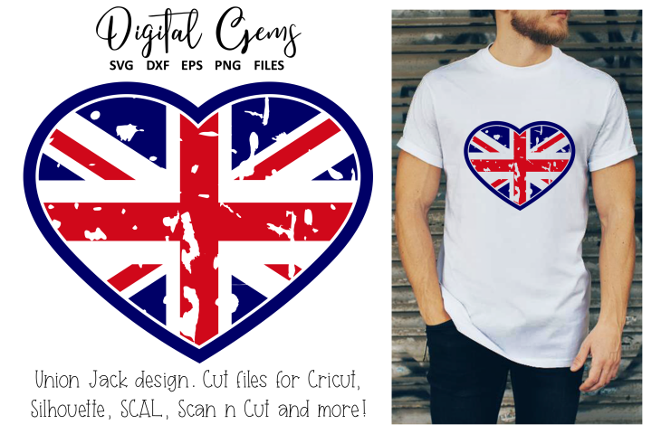 Union Jack heart distressed flag SVG / EPS / DXF / PNG Files