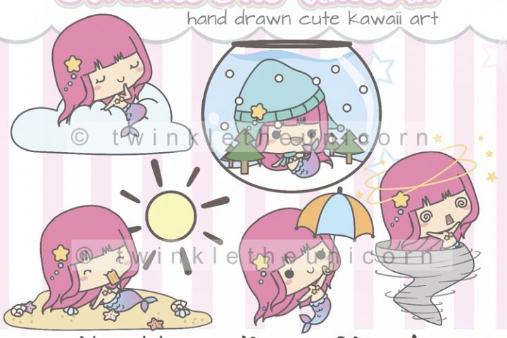 KAWAII MERMAID CLIPART, png graphic collection, weather, planner girl, sun, sommer, winter, spring clipart, cute clipart