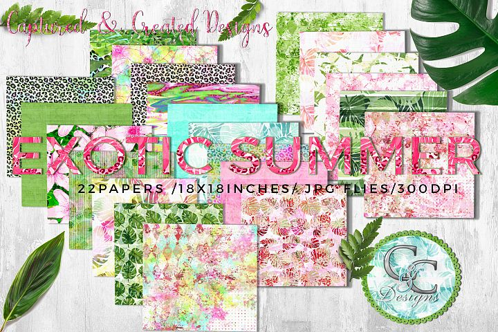 22 - 18x18 in. Exotic Summer Digital Papers