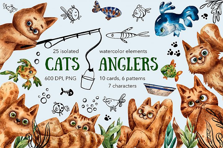 Cats Anglers - Watercolor Clip Art Set