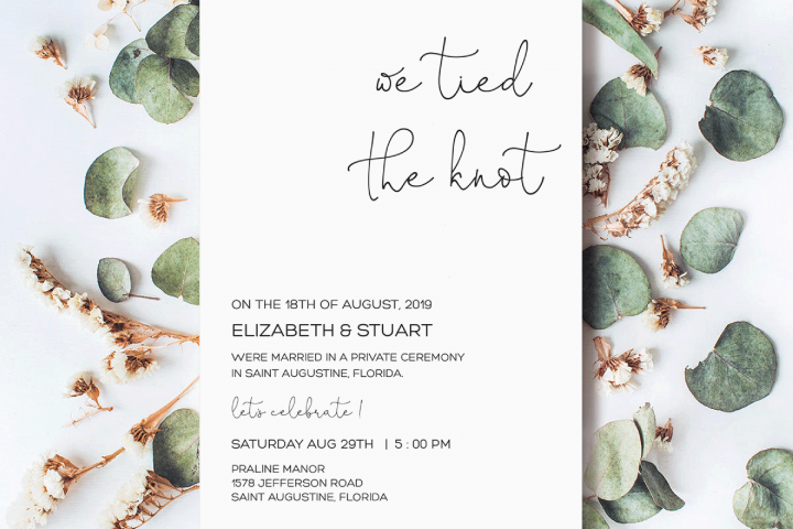 We Tied the Knot Invitation Template, Elopement Reception