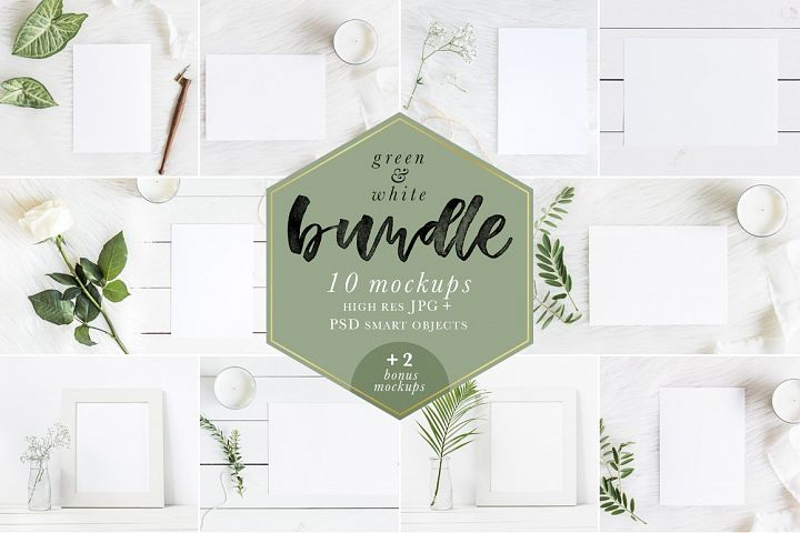 Green & White Mockups Bundle - 2 Bonus